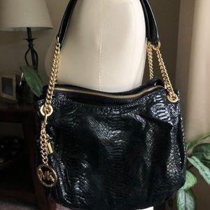 Michael Kors Snakeskin black and gold shoulder bag